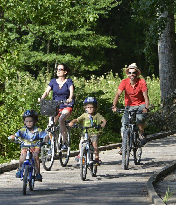 Promenade vélo de Coulon à la Garette sur route, chemin blanc et platelage bois.